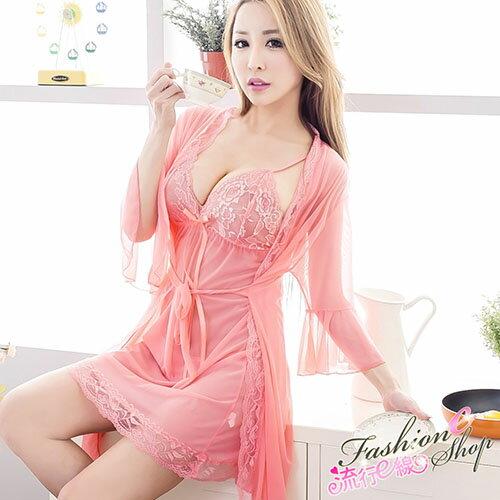 3件式睡袍組性感睡衣 薄紗睡袍和服式女睡衣紫色黑色粉色睡衣睡袍*流行E線A7034