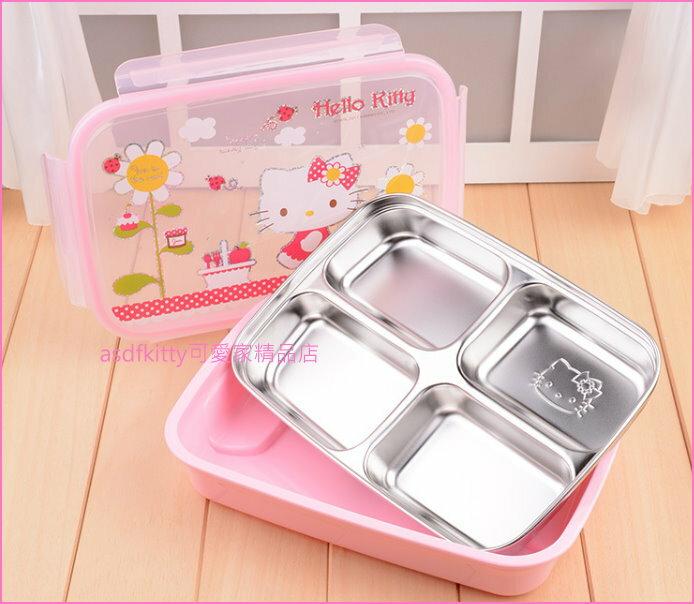 asdfkitty可愛家☆KITTY向日葵樂扣型防燙有蓋304不鏽鋼餐盤便當盒-4格型-韓國製