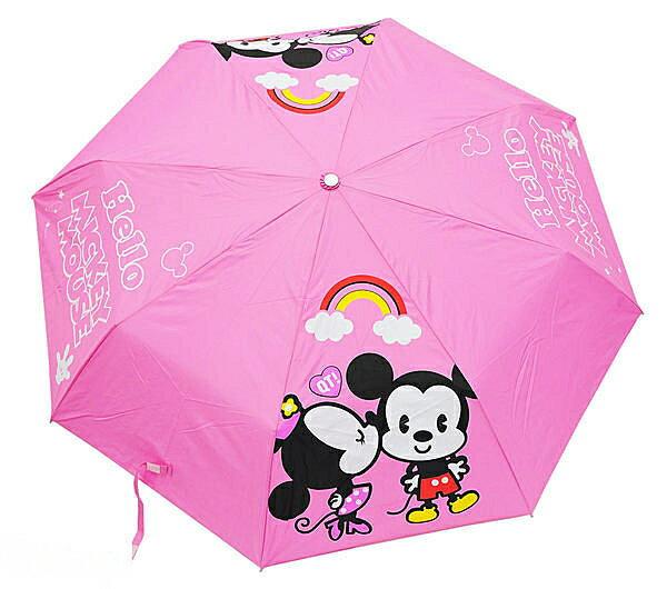 Disney 迪士尼 兒童傘/晴雨傘/手開傘/手開三折傘 米奇米妮 *夏日微風*