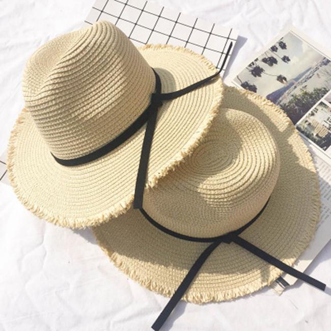 50%OFF SHOP 蝴蝶結大沿帽子夏天女士出遊沙灘草帽海邊防曬可折疊遮陽帽子~E023