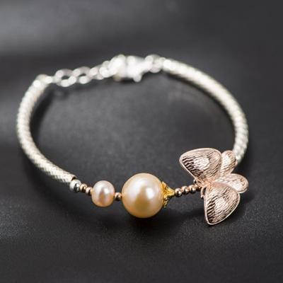 925純銀手鍊 珍珠手環 ~獨特浪漫蝴蝶 母親節情人節生日 女飾品73hm1~ ~~米蘭