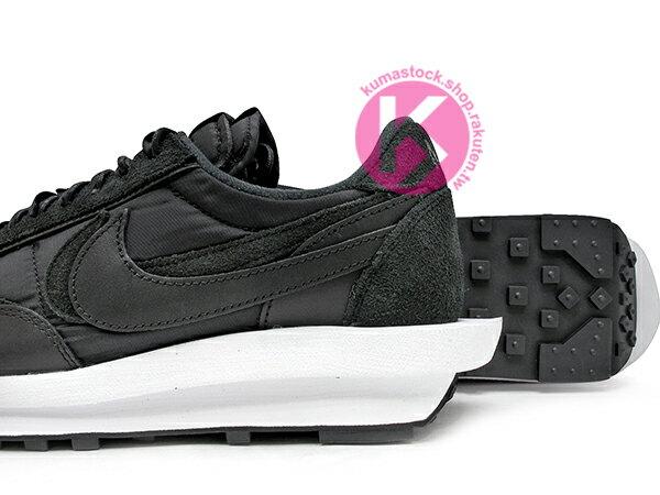 2020 春夏新色 高端時尚潮流 日本時尚品牌 阿部千登勢 SACAI x NIKE LDWAFFLE 黑 尼龍布 麂皮 鬆餅鞋 拼接 解構 經典 復刻鞋款 (BV0073-002) ! 3