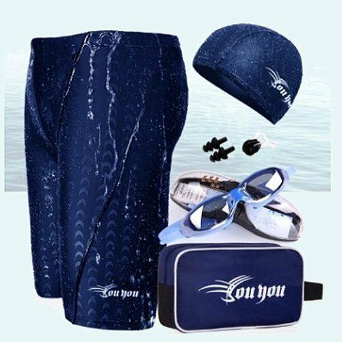 ☆小薇的店☆時尚大男七分鯊魚泳褲六件組配套特價568元NO.25255藍(3L-4L)