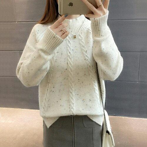 韓版寬鬆半高領毛衣加厚針織衫(3色F碼)*ORead* 1