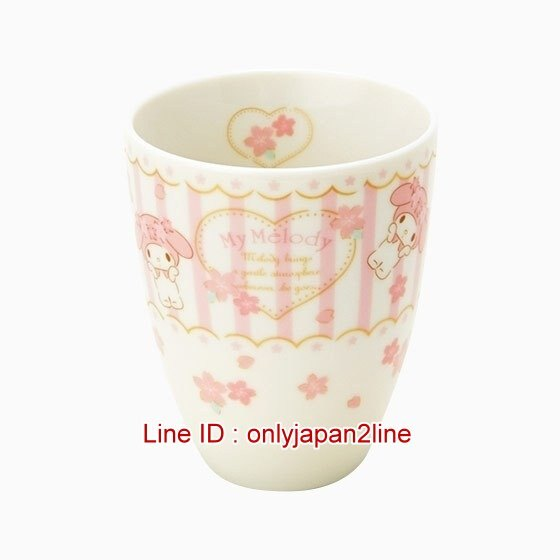 【真愛日本】17012400010 日本製陶瓷茶杯-MM櫻花條紋   三麗鷗家族 Melody 美樂蒂  茶杯 水杯