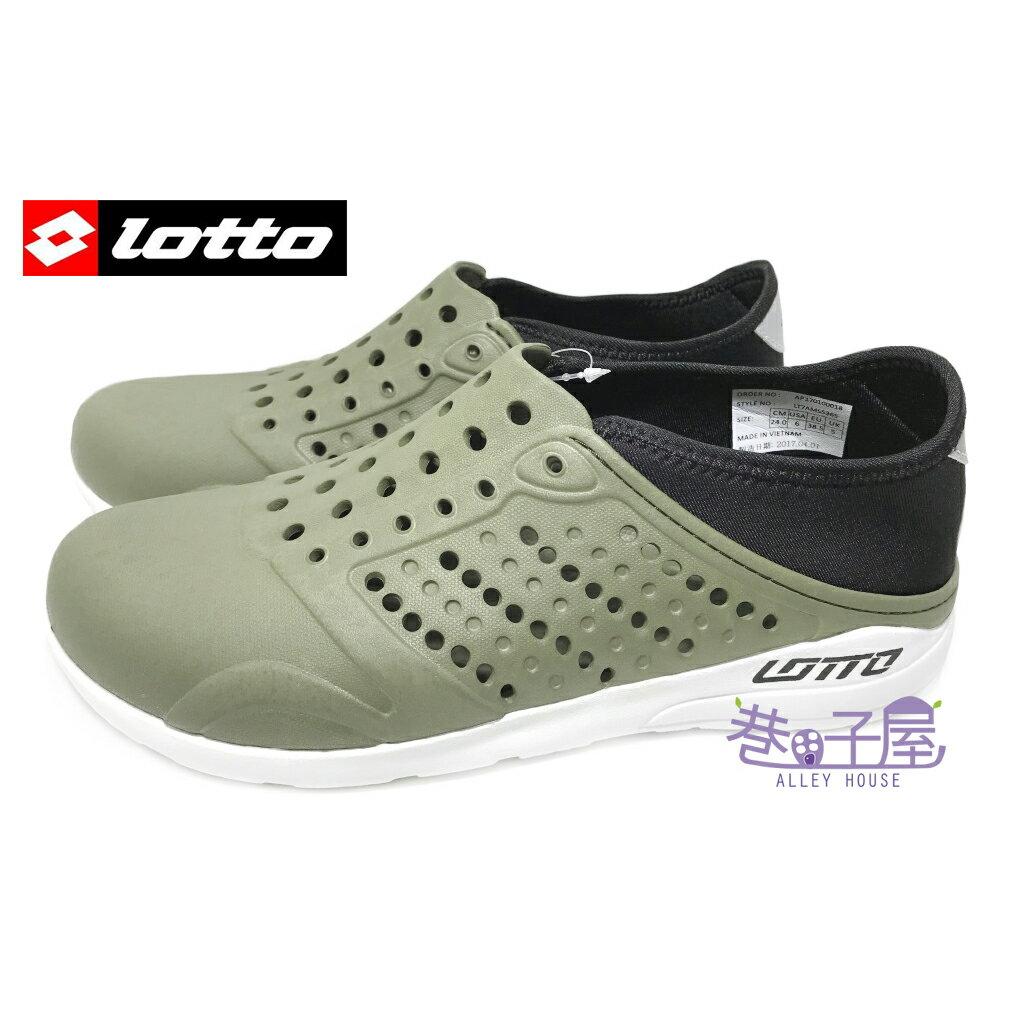 【巷子屋】義大利第一品牌-LOTTO樂得 男款二代透氣排水潮流洞洞鞋 情侶鞋 [5365] 軍綠 超值價$388