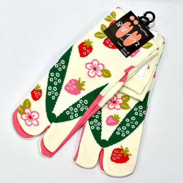 草莓日本足袋襪子23-25cm女生中筒日本帶回