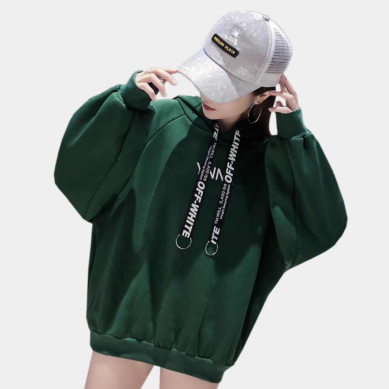 長版帽T--休閒印花金屬圓環羅紋口袋連帽保暖刷毛上衣(黑.紅.綠XL-3L)-X315眼圈熊中大尺碼 0
