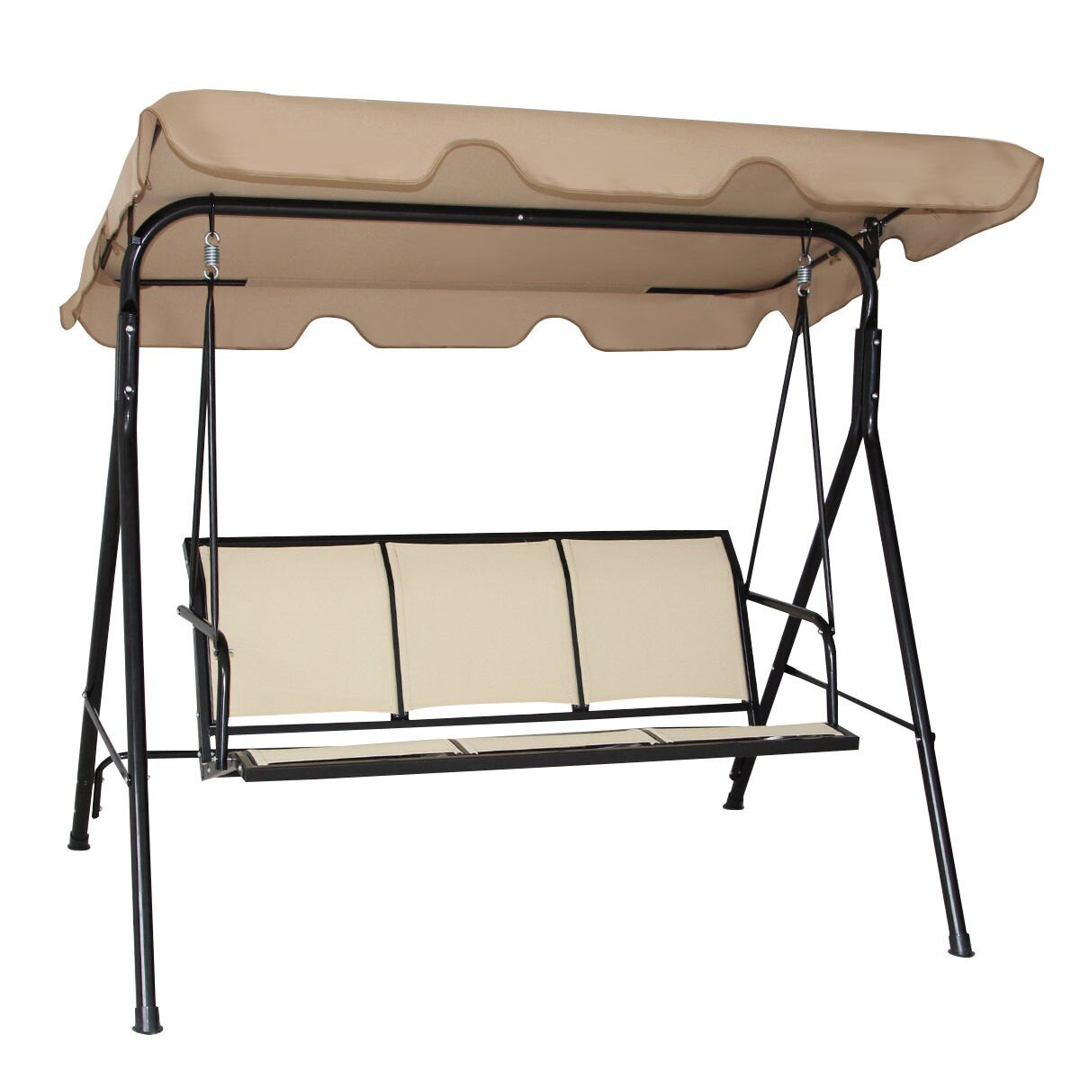 Costway Outdoor Patio Swing Canopy 3 Person Canopy Swing Chair Patio  Hammock Brown 2