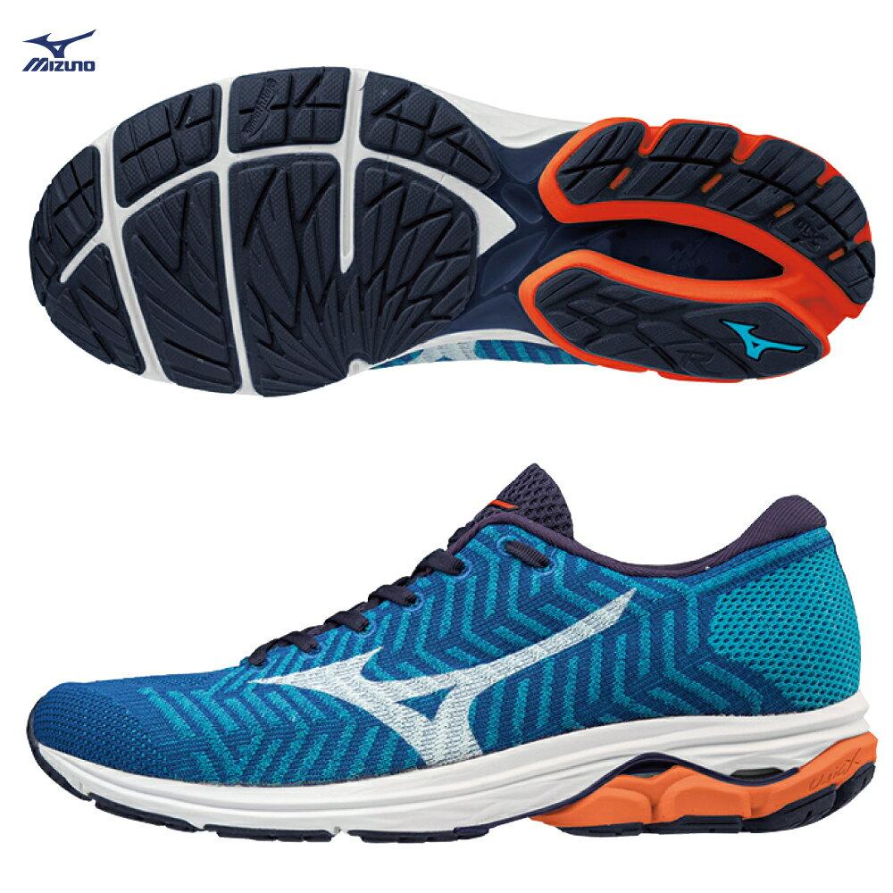 WAVE KNIT R2 男慢跑鞋 J1GC182907(藍x白)【美津濃MIZUNO】 - 限時優惠好康折扣