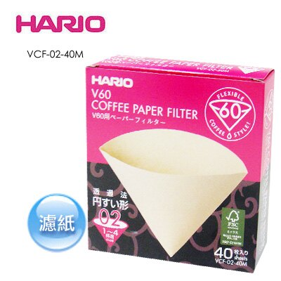 《HARIO》V型濾杯專用 VCF-02-40M 錐形濾紙/ 40入