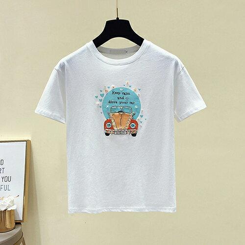 韓版印花寬鬆鑲鑽T恤(3色S~XL)【OREAD】 2
