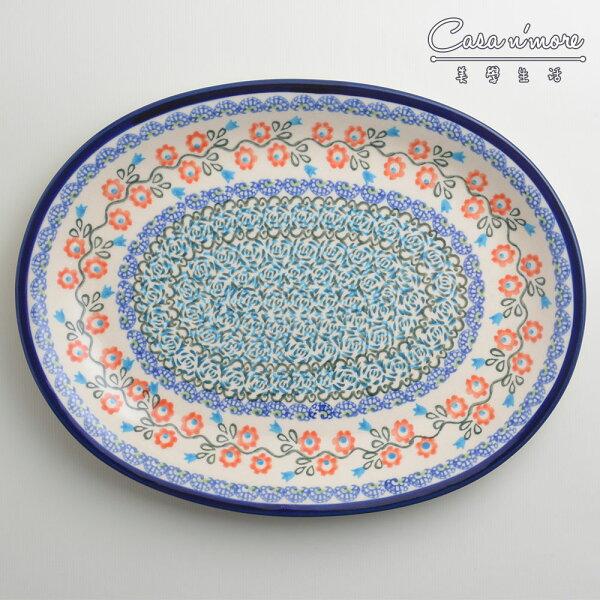 波蘭陶紅花綠蔓系列橢圓形餐盤陶瓷盤菜盤水果盤沙拉盤29cm波蘭手工製