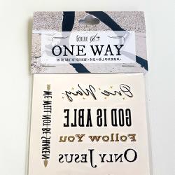 Écrire刻在心版上的燙金紋身貼紙/ONE WAY/每套含18款設計/燙金紋身貼紙/紋身貼紙