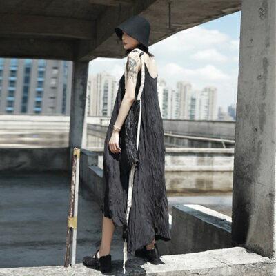 無袖背心裙長款-簡約純色個性有型壓皺女裙子73sl27【獨家進口】【米蘭精品】