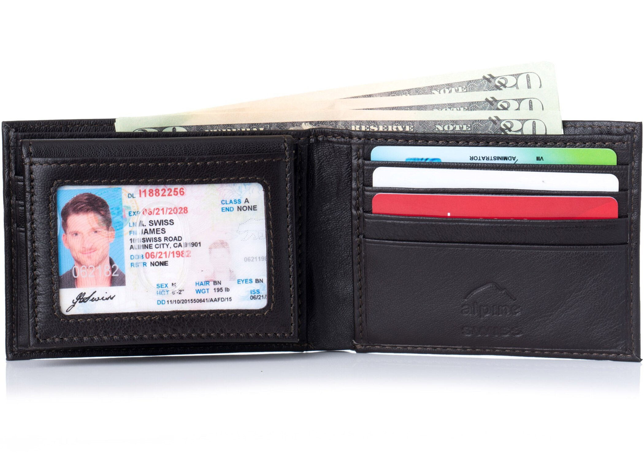 70007f0e42 Alpine Swiss Mens Wallet Genuine Leather Removable ID Card Case Bifold  Passcase 0
