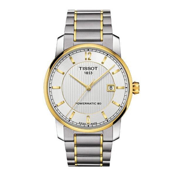 TISSOT天梭T0874075506700 鈦金屬雙色80小時動力儲存機械腕錶/白面40mm