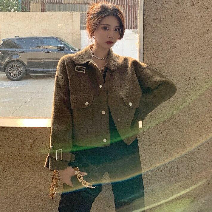 秋冬新款寬松仿羊羔絨短款開衫外套韓版皮毛一體長袖上衣女裝