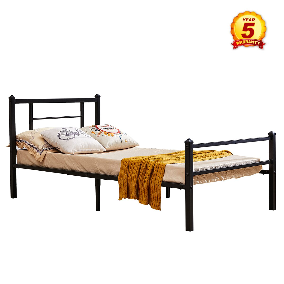 Mcombo Mcombo Metal Bed Frame With Headboard And Footboard Xl Twin