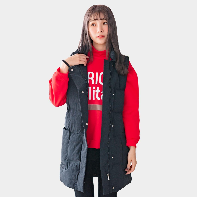 馬甲--時尚保暖立領防風拉鍊口袋寬鬆長版羽絨棉背心外套(黑.藍L-3L)-J267眼圈熊中大尺碼 0