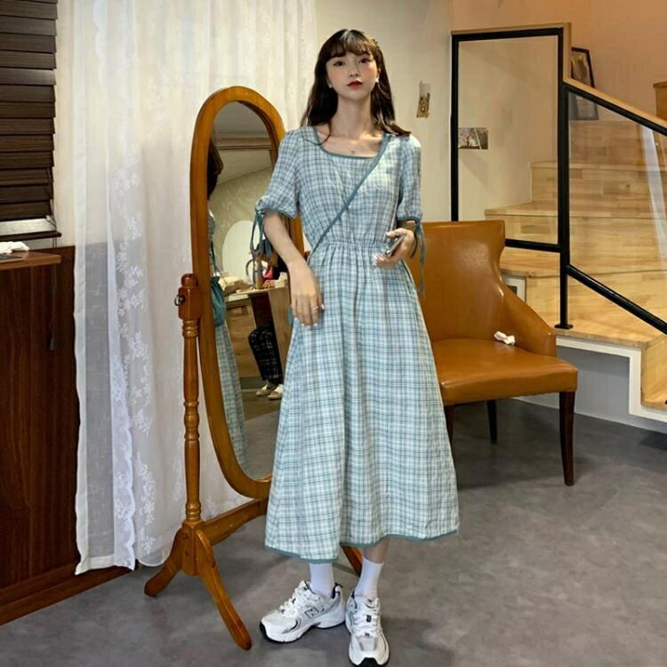 法式小众复古格子方领洋裝女收腰系带2021新款夏天学生过膝中长