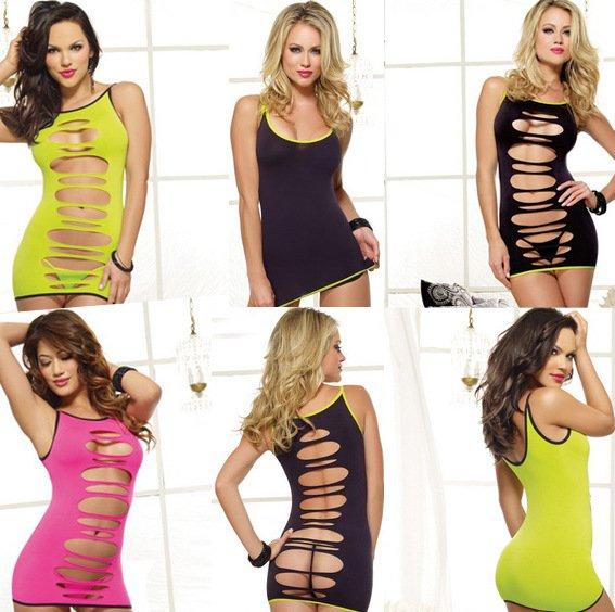 11200 歐美透視性感睡裙睡衣正反兩穿鏤空情趣包臀貼身短裙洋裝連身衣 3色