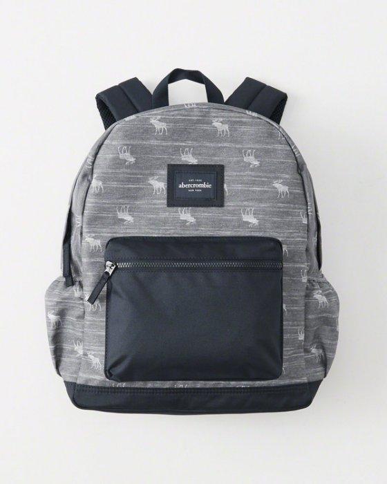 美國百分百【Abercrombie & Fitch】後背包 雙肩包 外出包 AF 麋鹿 書包 男 女 藍灰 C883