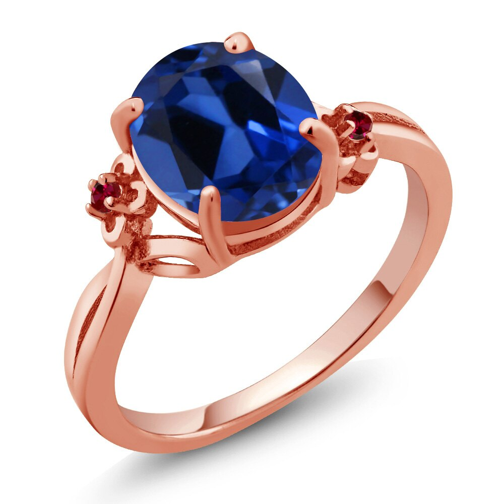 3.33 Ct Simulated Sapphire Red Created Ruby 18K Rose Gold Plated Silver Ring 0