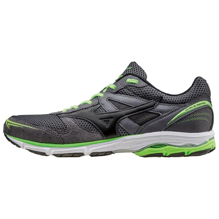 MIZUNO WAVE AERO 15 WIDE 男鞋 慢跑 輕量 耐磨 寬楦 黑 綠【運動世界】J1GA163609