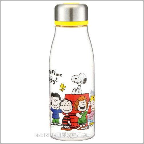 asdfkitty可愛家☆SNOOPY史努比全員透明瓶身直飲水壺隨手瓶-500ML-輕量好攜帶-日本正版商品