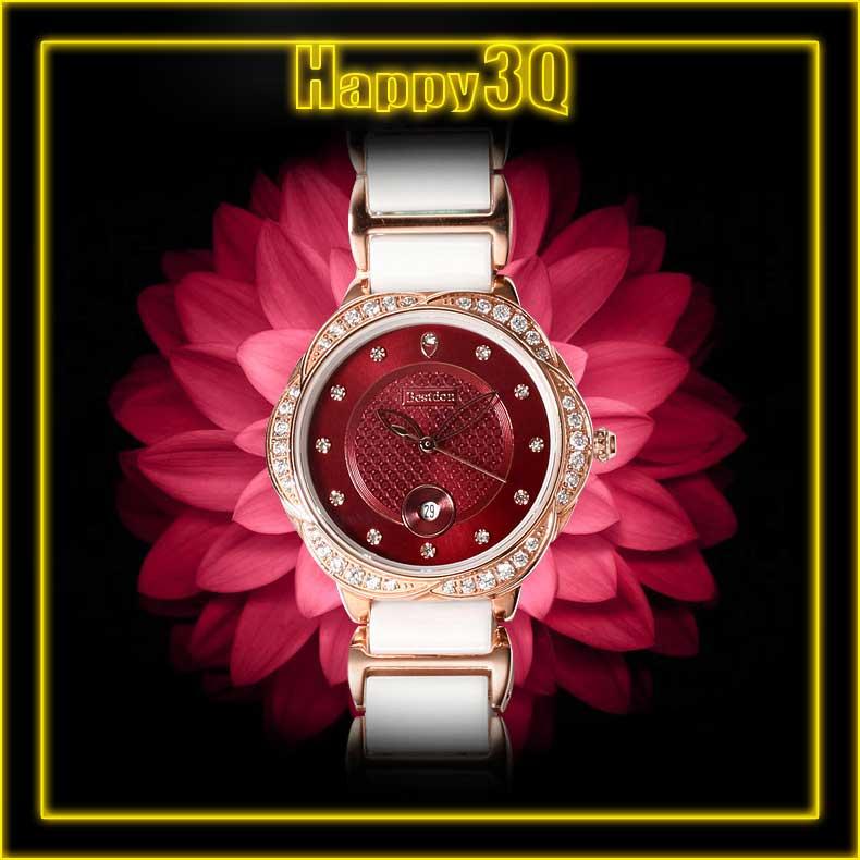 奢華鑲鑽花邊防水 潮流玫瑰金陶瓷女錶帶手錶~白  紅~AAA0609~