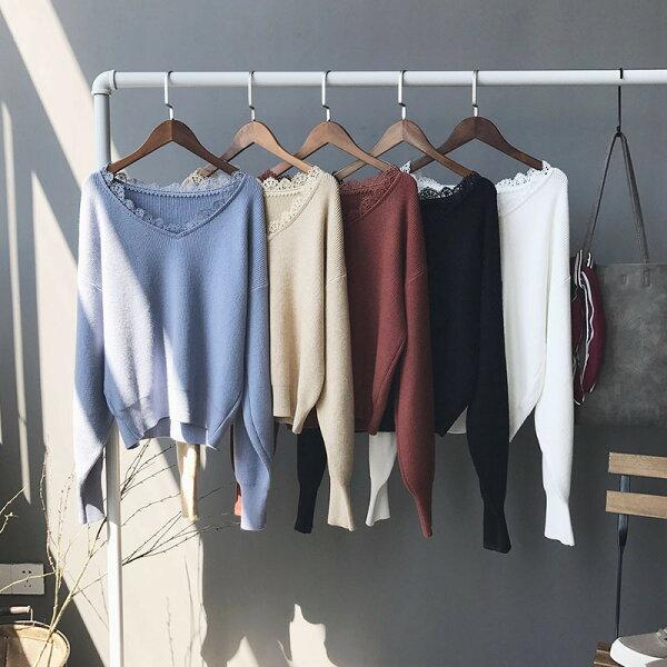 [全店免運] 蕾絲邊V領燈籠袖毛衣針織衫 / 樂天時尚館