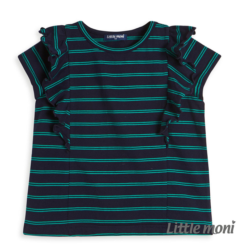 Little moni 條紋荷葉袖上衣-深藍(好窩生活節) 1
