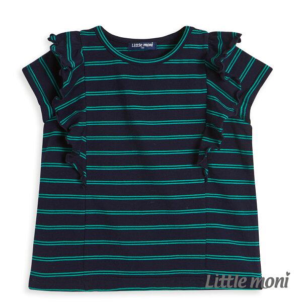 Littlemoni條紋荷葉袖上衣-深藍