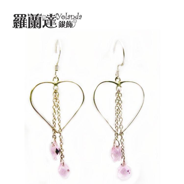 耳環925純銀~ 粉鋯石垂墜~純銀耳勾~鏤空愛心~~羅蘭達銀飾~~甜美簡約