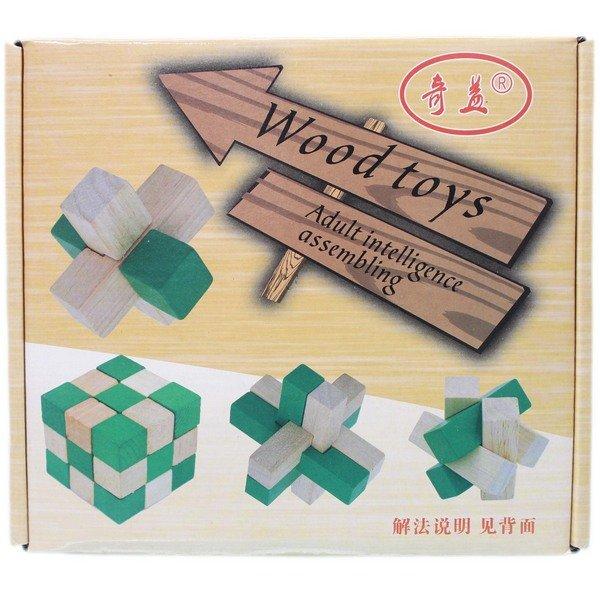 益智動腦拆卸魯班鎖 孔明鎖 木製(4款入) / 一盒4款入(促199) 智力解鎖拆裝玩具-AA6541 0