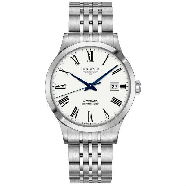 LONGINES浪琴表L28214116開創者優雅羅馬經典機械腕錶白面40mm