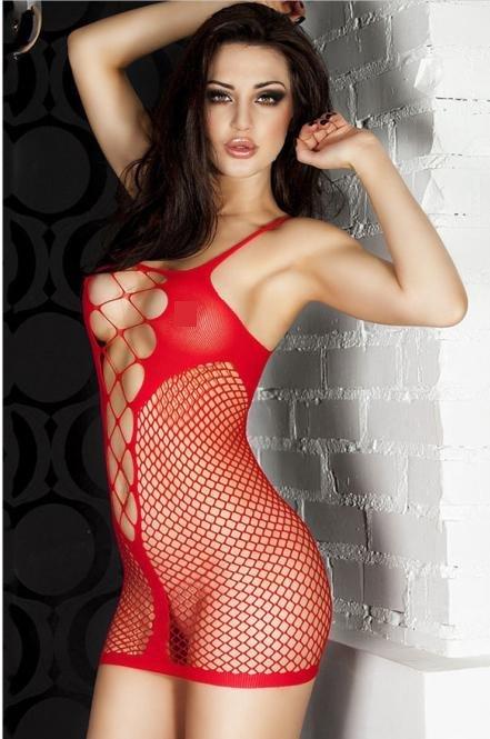歐版時尚短款情趣網眼透視洞洞性感睡衣細肩帶連身貓裝網衣 2色 21344
