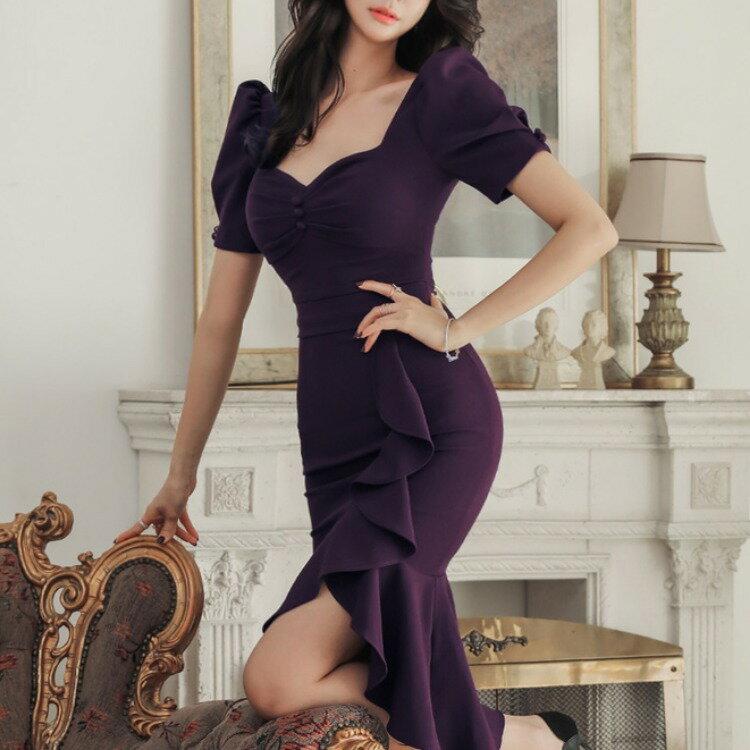 2021春冬新款韓版時尚氣質顯瘦魚尾連衣裙包臀性感禮服裙2021