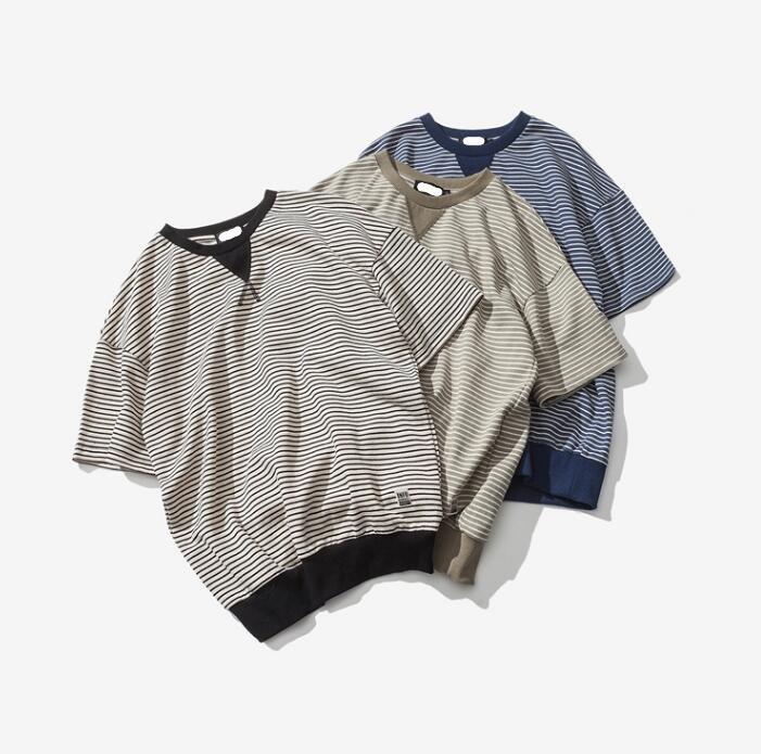 FINDSENSE品牌 男 時尚潮流 休閒 簡約條紋 束口下擺 短袖T恤 特色短T