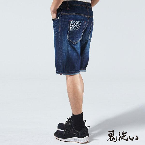 【春夏新品】冰礦磁之力WINCOOL牛仔短褲(深藍)-BLUEWAYONIARAI鬼洗