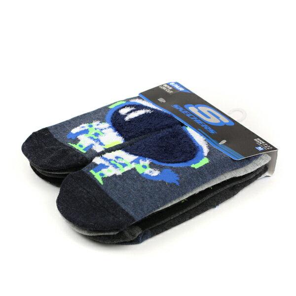 SKECHERS襪子六入藍黑灰兒童短襪S111551-410noB19