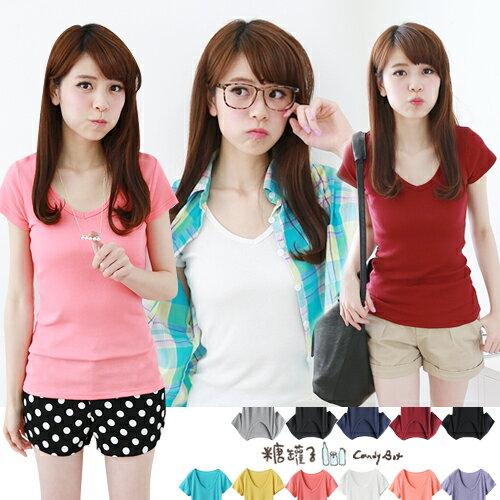 糖罐子純色V領羅紋棉衫→預購【E31260】 0