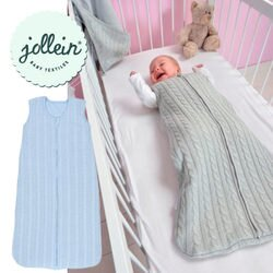 Jollein  針織鋪棉無袖睡袍-藍【小丁婦幼】