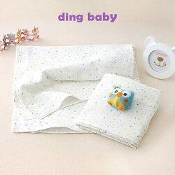 ding baby 純棉紗布大浴巾/包巾/薄被-藍點-2入【小丁婦幼】