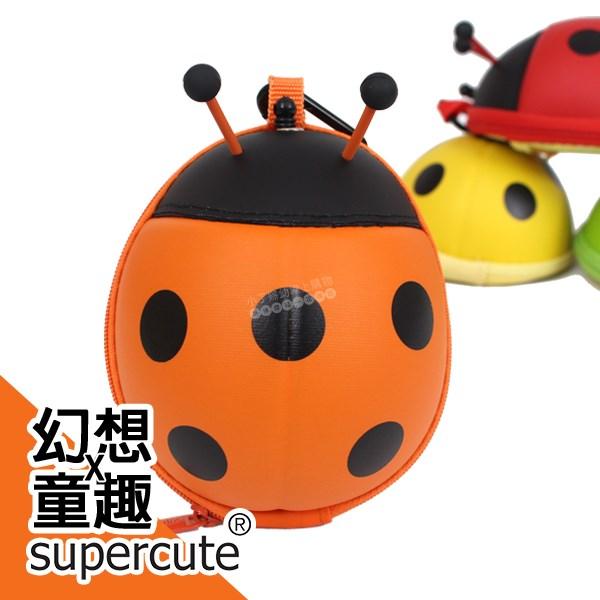 瓢蟲卡包零錢包-橘/鑰匙包/奶嘴收納包/零錢包/耳機收納包 supercute R-SF031-O0