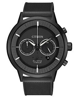 CITIZEN星辰CA4405-17H簡約光動能鈦金屬計時腕錶灰+黑面42mm