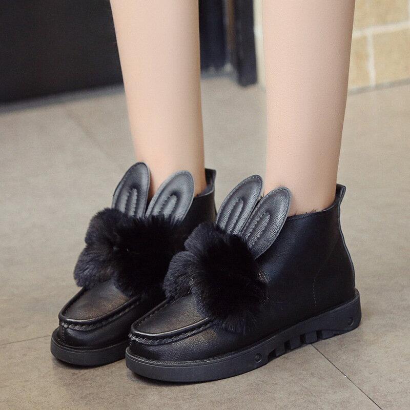 時尚防水坡跟短靴厚底兔毛雪靴百搭兔耳朵女靴冬棉鞋兔子毛毛棉靴