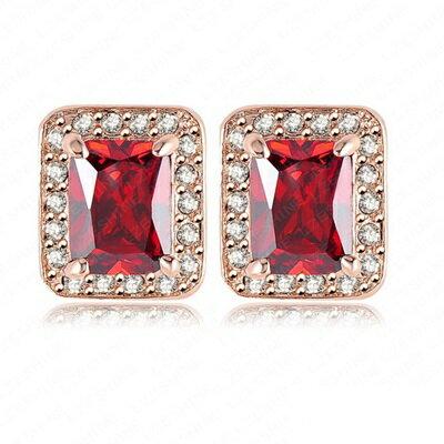 玫瑰金耳環 鑲鑽純銀耳飾~方形 獨特 七夕情人節生日 女飾品73bj51~ ~~米蘭 ~