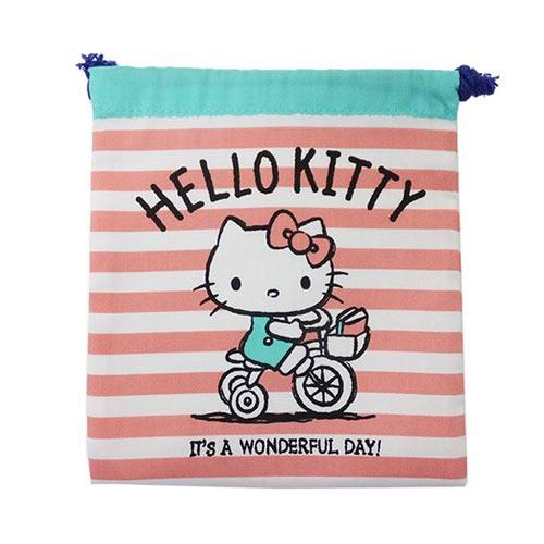 粉紅款【日本進口正版】凱蒂貓 HelloKitty 帆布 束口袋 收納袋 抽繩束口袋 三麗鷗 - 424961